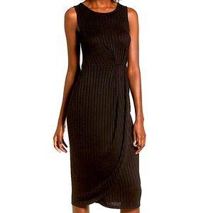 EUC BP. Gathered Waist Ribbed Midi Dress in Black